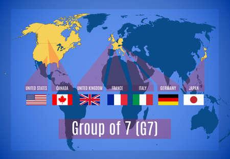 Schematische vectorkaart van de Groep van Zeven (G7).