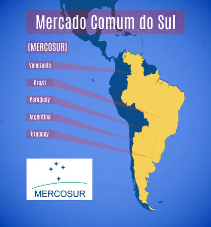 bloc: Vector schematic map and emblem of Southern Common Market (MERCOSUR).