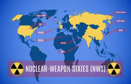 Karte der Atomwaffenstaaten (NWS). Standard-Bild - 70917305