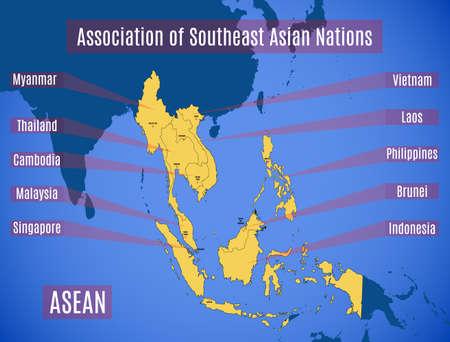 Schematyczna mapa krajów członkowskich Stowarzyszenia Narodów Azji Południowo-Wschodniej (ASEAN). Ilustracje wektorowe