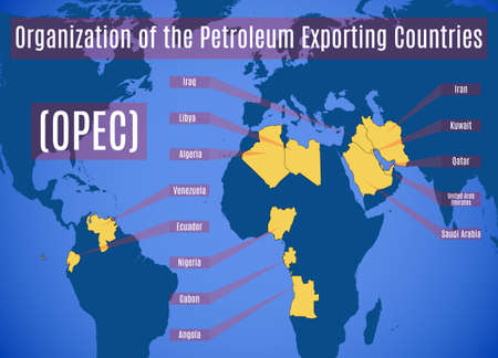 geopolitics: Schematic map of the Organization of the Petroleum Exporting Countries (OPEC). Vector illustration. Illustration