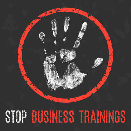 Vector illustration. Social problems of humanity. Stop business trainings.