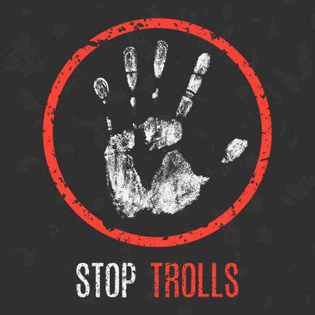 instigator: Vector illustration. Social problems of humanity. Stop trolls.
