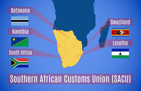 treaty: Vector. Schematic map of the Southern African Customs Union (SACU). Illustration