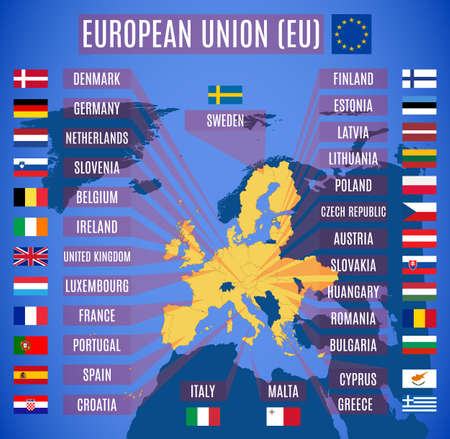 Vector map of European Union (EU), with Britain. European Union participating countries. Vector Illustration