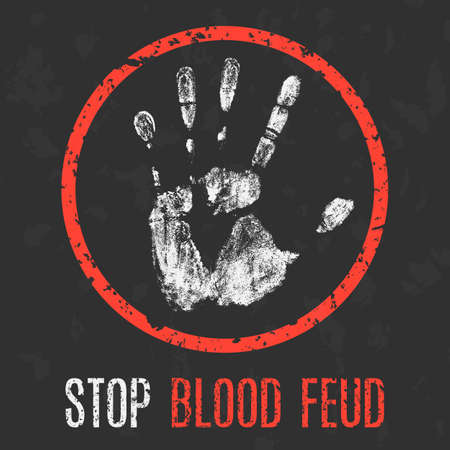 Conceptual vector illustration, Social problem: Stop blood feud.