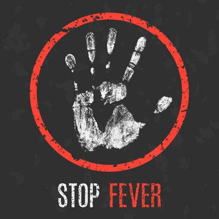 quarantine: Conceptual vector illustration. The medical diagnosis. Stop fever. Illustration