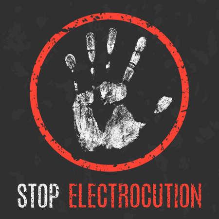 electrocution: Conceptual vector illustration. Social problems. Stop electrocution.
