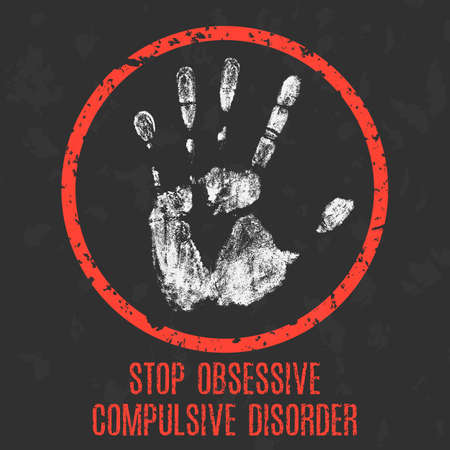 mania: Vector illustration. The medical diagnosis. Stop obsessive compulsive disorder.