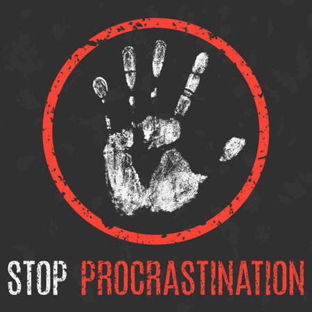 Conceptual vector illustration. Social problems. Stop procrastination.