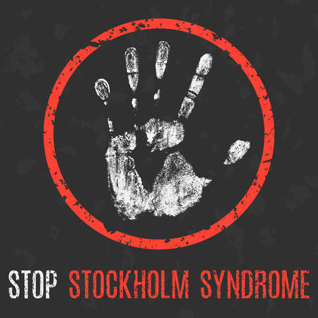 Vector illustration. Social problems of humanity. Stop stockholm syndrome. Stock Vector - 77351969