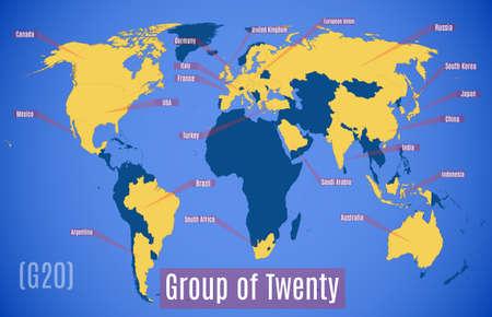 ベクトルの略地図。G20 の加盟国。