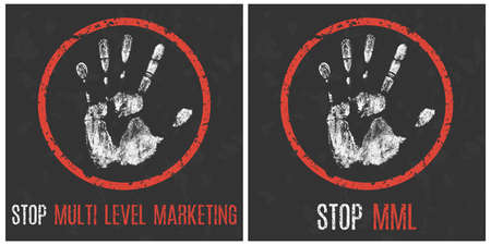 Vector illustration. Social problems. Stop multi level marketing.