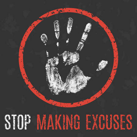 Vector illustration. Social problems of humanity. Stop making excuses. Vettoriali