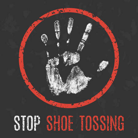Vector illustration. Social problems of humanity. Stop shoe tossing.