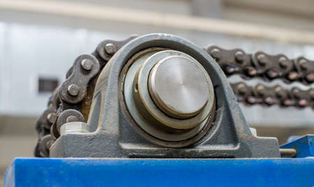 greasing: Bearing and chain transmission. Stock Photo