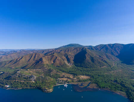 The mountains and Bay in the vicinity of Marmaris. Aerial view. Stock Photo