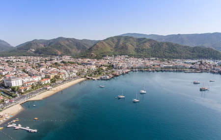 Aerial view of the Turkish resort town of Marmaris.