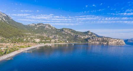 smooth: Aerial view of coast bay Kumlubuk. Turkey, Marmaris region.