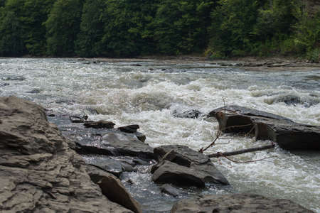 jet stream: Stone barrier to the flow of a mountain river.