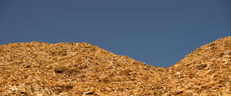 Pile dry industrial chips under the open sky. Selective focus. Stock Photo