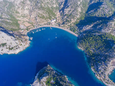 Seaside Turkish landscape. Aerial view of the beautiful bay.