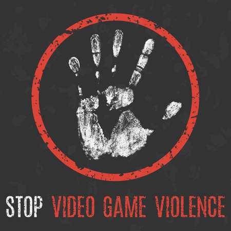 Vector illustration. Social problems of humanity. Stop video game violence.