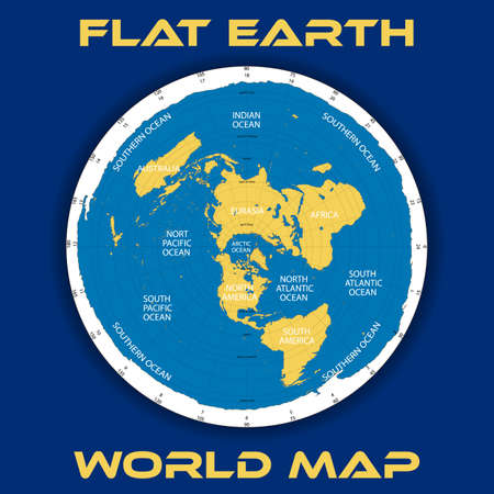 Schematic map theory of a flat earth illustration.