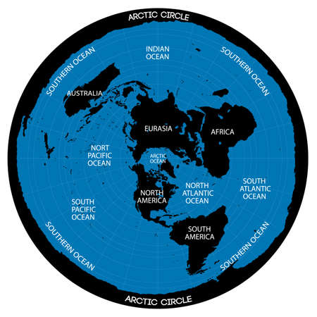 Conceptual  scheme illustration of the ma of the flat Earth theory.