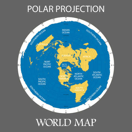 Azimuthal equidistant projection illustration of the  map of the world on gray background.