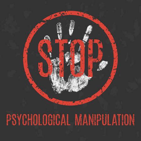 Deje de manipulación psicológica ilustración conceptual, problemas sociales de la humanidad.
