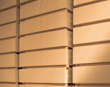 Pack of MDF laid in rows on the warehouse. Banque d'images