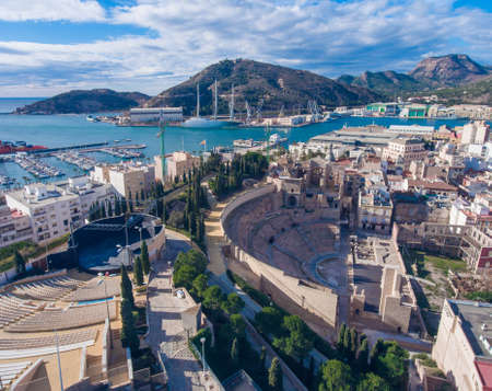 Panorama of the Spanish city of Cartagena. Aerial view.