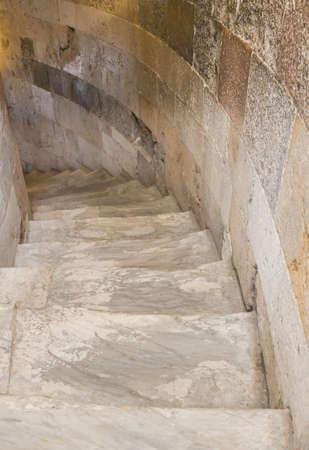 A Narrow Marble Staircase In The Leaning Tower. Stock Photo   105478926