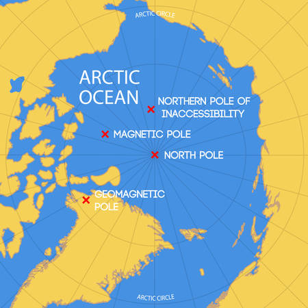 Schematic vector map of the location of the inaccessibility pole, North pole, geomagnetic and magnetic North pole.