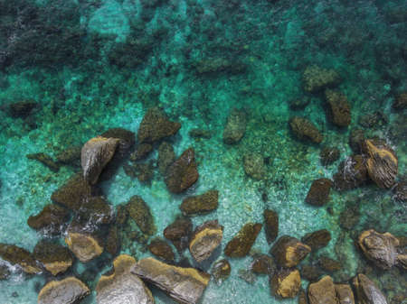 Rocky coastal waters of the island of Corsica. Top view.