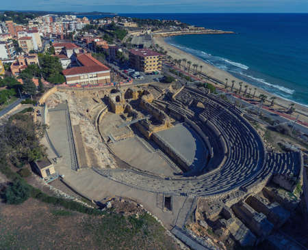 Aerial view of the ruins of an ancient amphitheater. Tarragona, Spain.