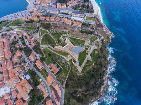 Aerial view of the Fort Falcone in Portoferraio on Elba island, Italy. Archivio Fotografico - 116682765