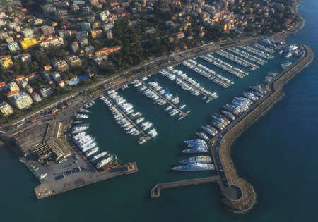 Aerial view of the Marina of San Remo, Italy.