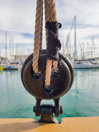 The dead eye. Standing rigging of a sailing ship. Selective focus.