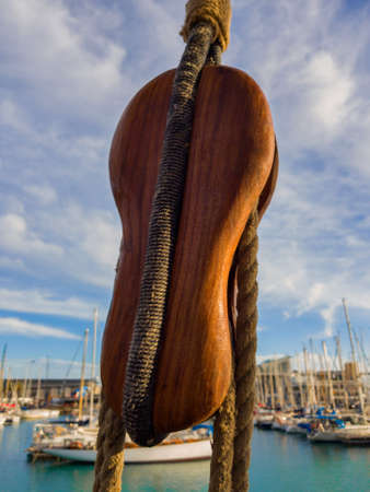 Double wooden backstay block old sailing ship. Stok Fotoğraf