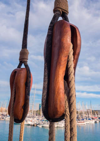 Wooden blocks on an old sailing vessel. Stockfoto