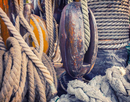 Equipment on the deck of an old sailing ship. Stok Fotoğraf