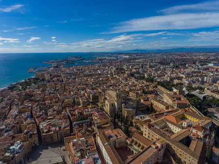 Aerial view of Tarragona old town and port.