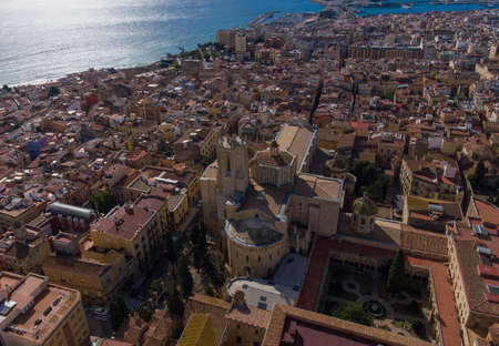 Aerial view of the Cathedral in the old town of Tarragona. Stok Fotoğraf