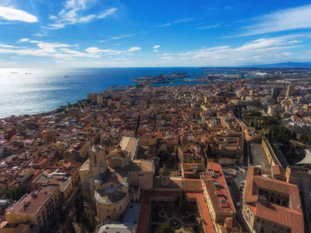 Aerial view of the sea, the Marina and the Cathedral in the old town of Tarragona. Stok Fotoğraf