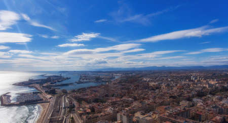 Aerial view of the Marina and the port of Tarragona. Catalonia, Spain.