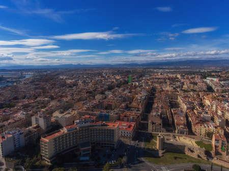 Panoramic aerial view of Tarragona, Catalonia, Spain.