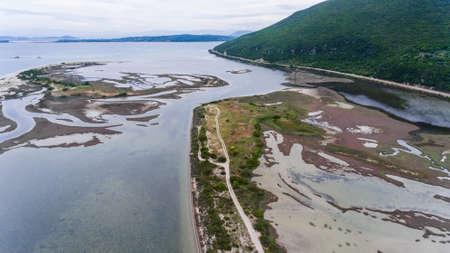 Marshy shallow water near Levkas, Greece. Aerial view. Stockfoto