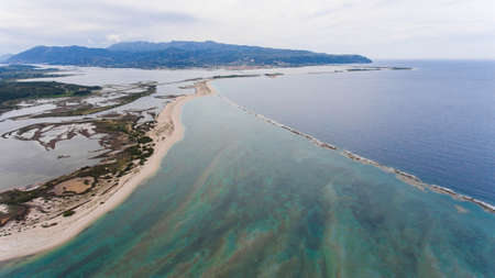 Shallow waters on the shores of the island of levkada, Greece. Aerial view.